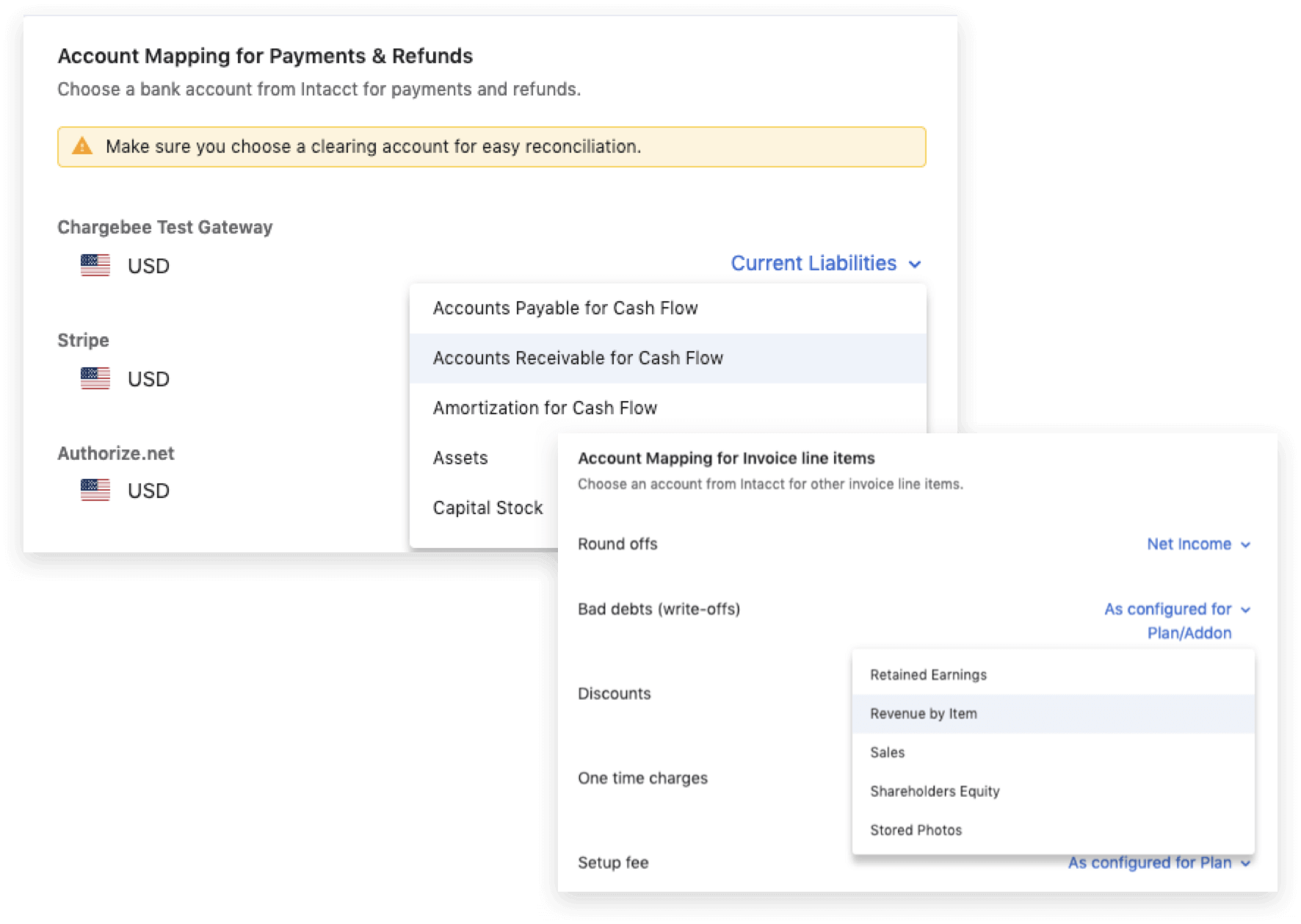 Account mapping recurring invoicing