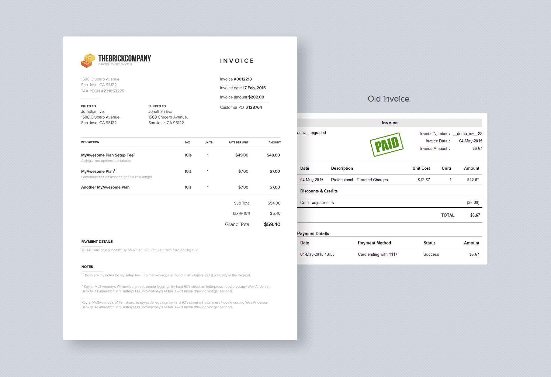 compare invoice