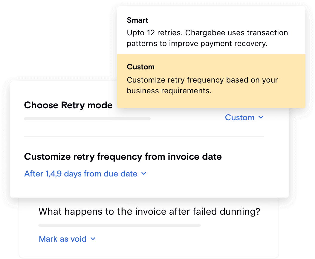 Custom rules for payment retries